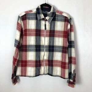 Krazy Kat plaid full zip shirt jacket long sleeve